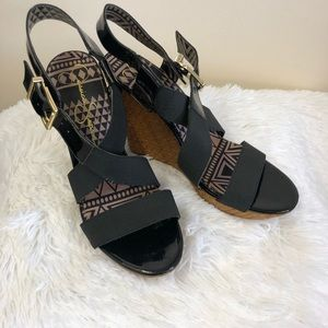 Jessica Simpson Black Straped Wedges Size 10